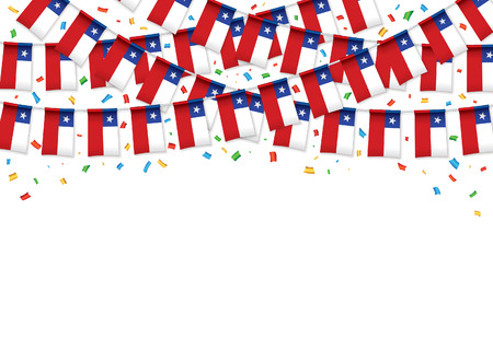 Chile flags garland Red background with confetti, Hang bunting for Chilean National Day celebration banner, Vector illustration