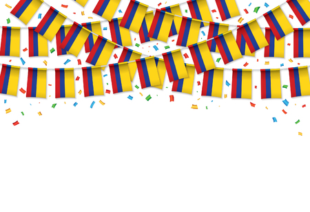 Colombia flags garland white background with confetti, Hang bunting for Colombian Independence Day celebration template banner, Vector illustration
