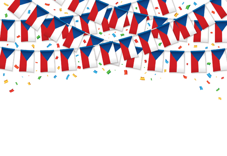 Czech flags garland white background with confetti, Hang bunting for Czech Independence Day celebration template banner, Vector illustration