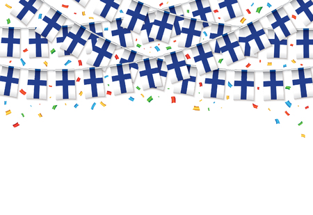Finland flags garland white background with confetti, Hang bunting for Finland independence Day celebration template banner, Vector illustration