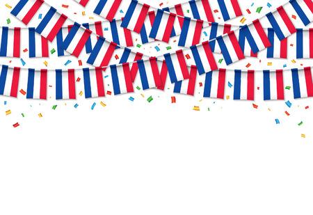 Frankreich kennzeichnet weißen Hintergrund der Girlande mit den Konfettis und hängt Flagge für Frankreich-Unabhängigkeitstagfeier-Schablonenfahne, Vektorillustration.