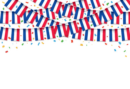 France flags garland white background with confetti, hanging bunting for France Independence day celebration template banner, vector illustration. Stock Illustratie