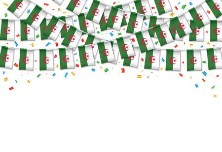 Algeria flag garland white background with confetti, Hanging bunting for Algerian independence Day celebration template banner, Vector illustration. Illusztráció
