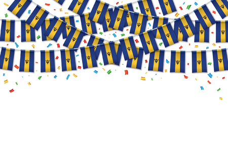 Barbados flag garland white background with confetti, Hanging bunting for Barbadian Independence Day celebration template banner, Vector illustration Illusztráció