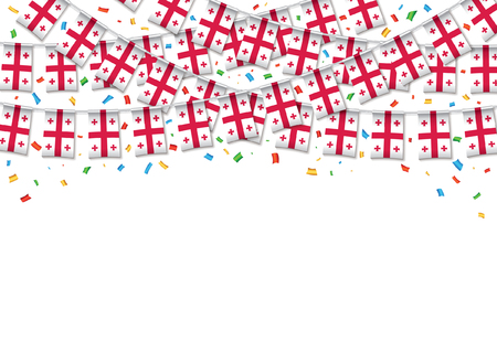 Georgia flags garland white background with confetti, Hanging bunting for Georgian independence Day celebration template banner, Vector illustration