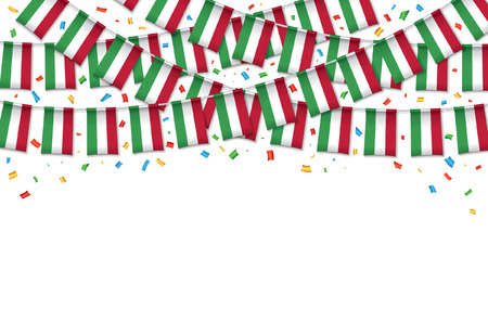 Hungary flag garland white background with confetti, Hanging bunting for Hungarian independence Day celebration template banner, Vector illustration