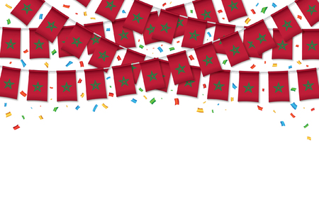 Morocco flag garland white background with confetti, Hanging bunting for Moroccan independence Day celebration template banner, Vector illustration Illustration