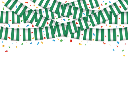 Nigeria flag garland white background with confetti, Hang bunting for Nigerian independence Day celebration template banner, Vector illustration