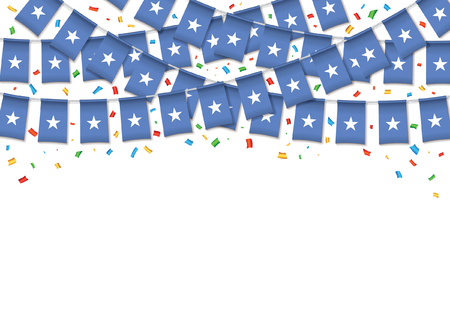 Somalia flags garland white background with confetti, Hang bunting for Somali independence Day celebration template banner, Vector illustration Illusztráció
