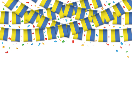 Ukraine flags garland white background with confetti, Hang bunting for Ukrainian independence Day celebration template banner, Vector illustration