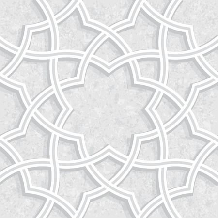 Geometrisch bloemenpatroon met Lichtgrijze Grungeachtergrond, Vectorillustratie