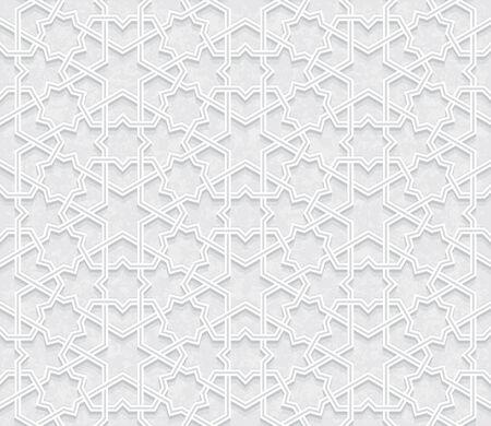 Arabesque Star Pattern with Grunge Light Grey Background, Vector Illustration