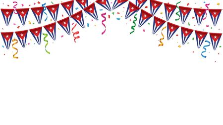 Cuba flags garland white background with confetti, Hang bunting for Independence Day celebration template banner, Vector illustration Иллюстрация