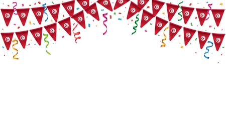 Tunisia flags garland white background with confetti, Hang bunting for Tunisian independence Day celebration template banner, Vector illustration Illustration