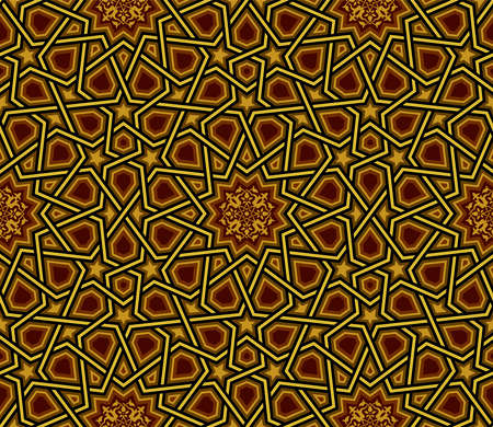 Geometric Pattern, Golden & Black Wallpaper, Vector Illustration, greeting & invitation background Ilustração