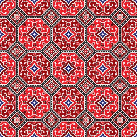 Red Ajrak Pattern, Vector Illustration Ilustração