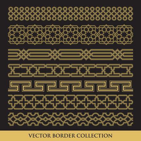 Arabic Seamless geometric golden Border with black background, Traditional Islamic Design Collection,  Mosque decoration element pattern Ilustração