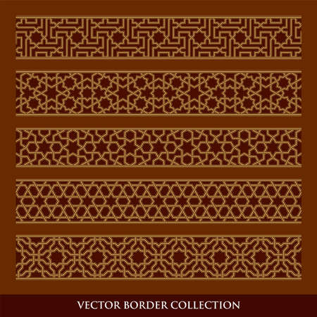 Arabic Seamless geometric golden Border with dark background, Traditional Islamic Design Collection,  Mosque decoration element pattern