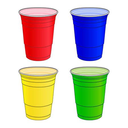 plastic: Party Cups in verschillende kleuren Stock Illustratie