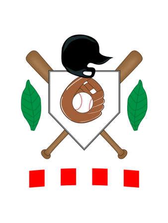 プレート: 野球の紋章  イラスト・ベクター素材