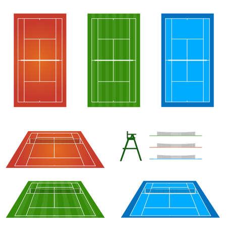 sideline: Juego de pistas de tenis Vectores