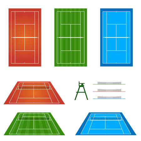judge players: Set of Tennis Courts Illustration