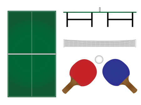 Ping Pong Table & Rackets Illustration