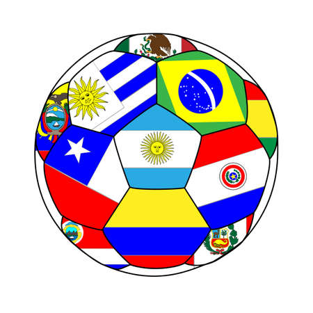 soccer goal: Football with Southamerican Flags Illustration