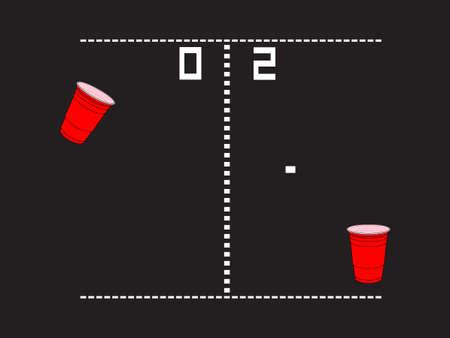 wasted: Beer Pong Arcade Illustration