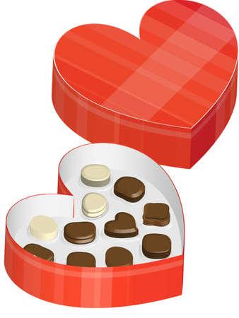 chocolate truffle: Heart-Shaped Chocolate Box Illustration