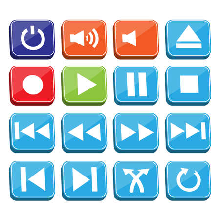cd recorder: Music Buttons Set Illustration