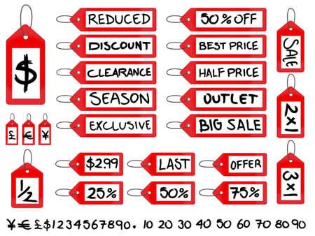 reduced value: Tags Manuscrito Venta Vectores