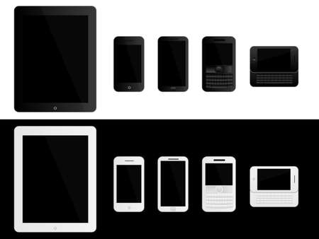 Mobile Devices Black and White Illustration