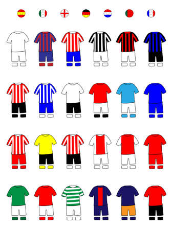 European Clubs Jerseys Football Kits A Illustration