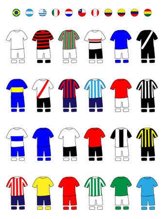 Latinamerican Clubs Jerseys Football Kits Illustration