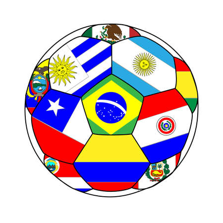 soccer goal: Football with South American Flags 2 Illustration
