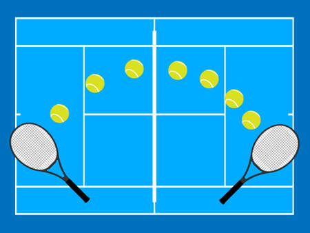 hard court: Tennis Illustration Hard Court