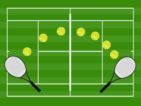 Tennis Illustration Hard Grass Illustration