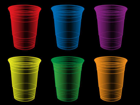 Transparent Party Cups in Different Colours Vector