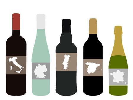 ヨーロッパのワイン  イラスト・ベクター素材