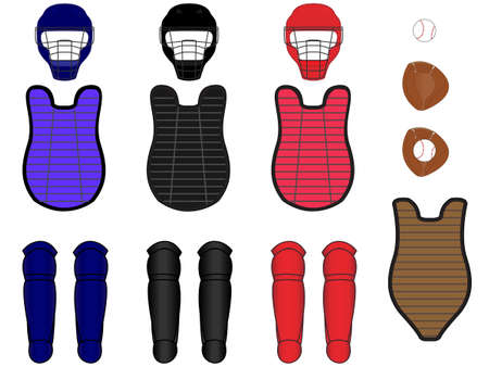 Baseball Catcher Equipment Kit Vector
