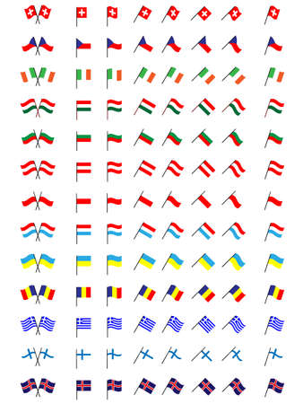 trade union: Flags of Europe 2  No Coats of Arms  Illustration