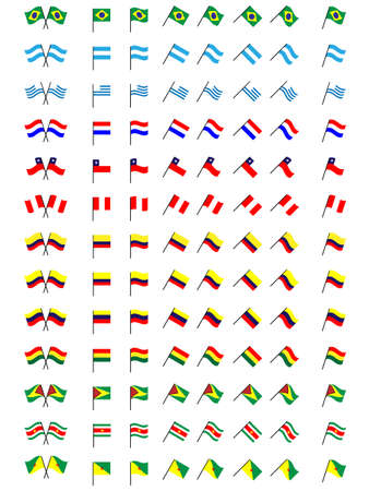 Flags of South America  No Coats of Arms  Vector