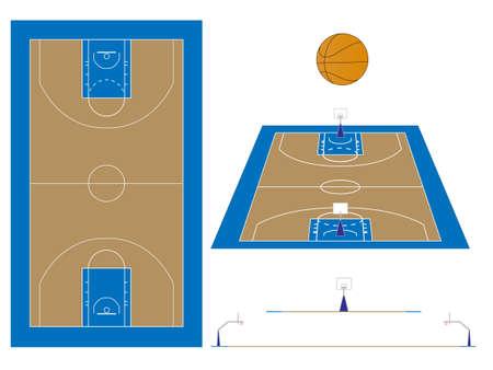 Terrain de basket avec les sections et perspective