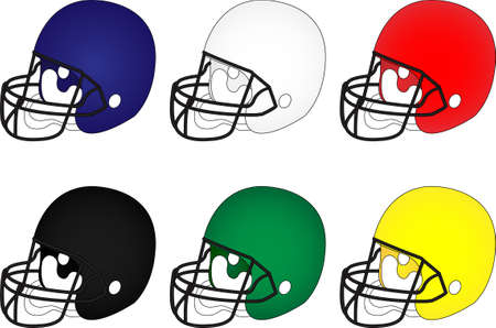 interception: American Football Helmets in Different Colours