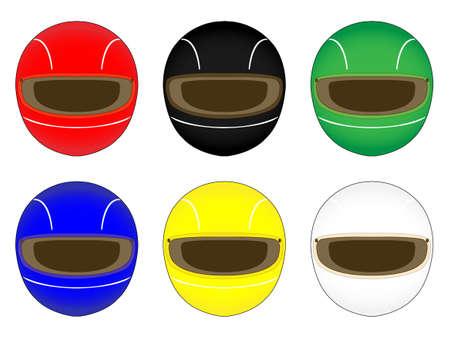 異なる色のヘルメットをレーシング