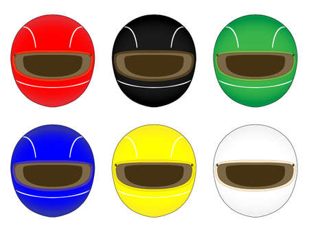 racing: Racing Helmets in Different Colours Illustration