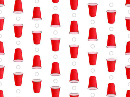 Beer Pong Background Seamless Pattern 1 Vector