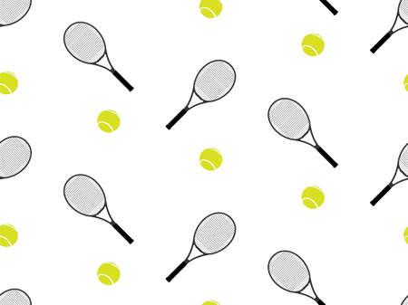 テニス ラケットとボールの背景のシームレス パターン 1