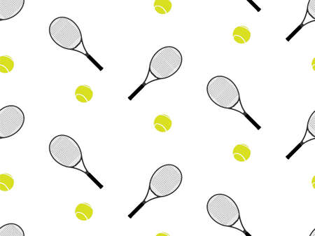 raquet: Tennis Raquet and Ball Background Seamless Pattern 1